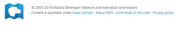 current date in  mozilla developer networks footer
