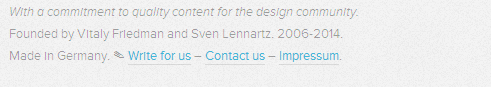 current date in  smashing magazine footer
